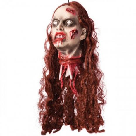Decorative Hanging Severed Female Head Body Part Limb Halloween Zombie